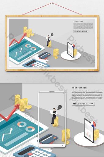 2 5d adegan data fintech bisnis bitcoin isometrik Ilustrasi Templat AI