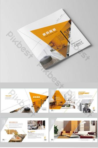 oranye fashion set tata letak desain brosur furnitur Templat AI