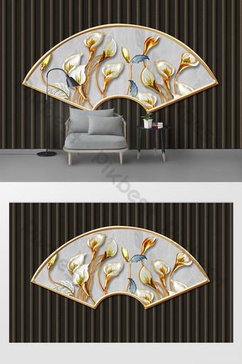 الحديث وبسيط ثلاثي الأبعاد مروحة على شكل زنبق الحديد الديكور التلفزيون خلفية الجدار الديكور والنموذج قالب PSD