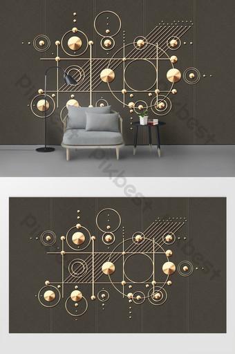 الرسومات الهندسية الحديثة الحد الأدنى ثلاثي الأبعاد الديكور الحديد المطاوع جدار خلفية التلفزيون الديكور والنموذج قالب PSD