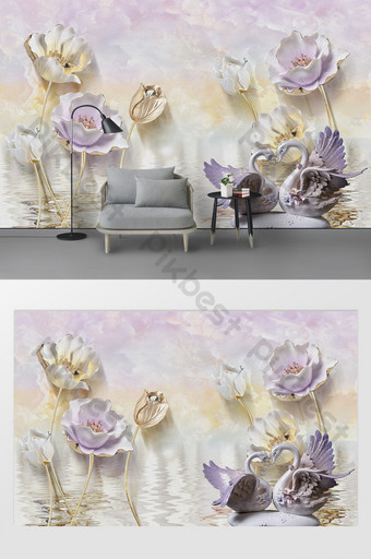 lukisan minyak modern dinding latar belakang angsa lotus tv Dekorasi dan model Templat PSD