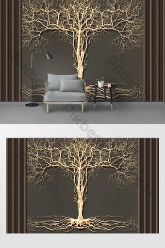 الحديث بسيط ثلاثي الأبعاد الحديد المطاوع الديكور المعادن شجرة كبيرة التلفزيون خلفية الجدار الديكور والنموذج قالب PSD