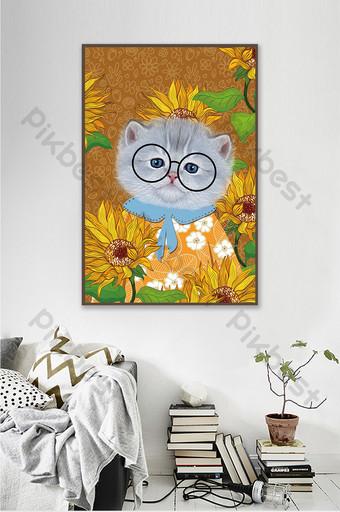 kucing kartun lucu kamar anak-anak toko hewan peliharaan lorong dekorasi lukisan Dekorasi dan model Templat PSD