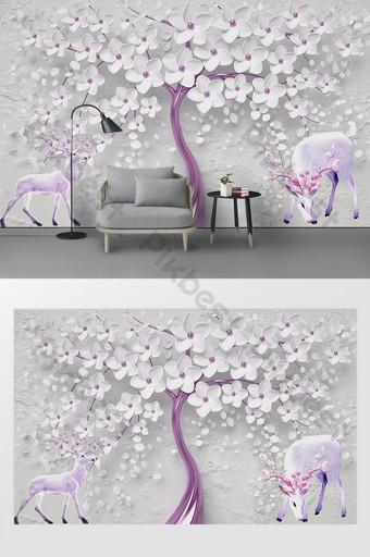 dinding latar belakang tv rusa bunga modern yang indah Dekorasi dan model Templat PSD