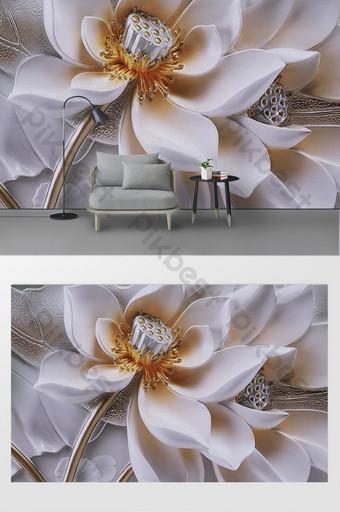 Moda moderna, simples e elegante borboleta amor flor 3d estéreo fundo de relevo mural Decoração e modelo Modelo PSD