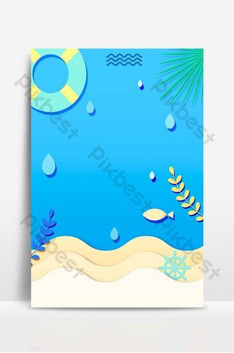 sea bottom simple paper cut style summer promotion poster background Backgrounds Template PSD
