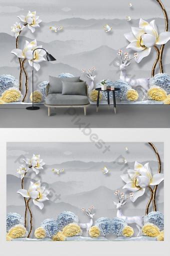 الحد الأدنى الحديثة تنقش الفاوانيا زهرة الأيائل شجرة الحبر المشهد خلفية الجدار الديكور والنموذج قالب PSD