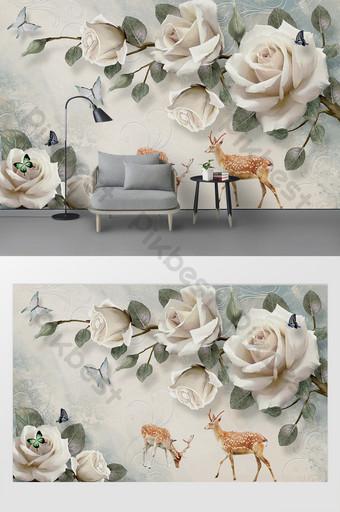 روز الحديثة زهرة فراشة تزلف التلفزيون خلفية الجدار الديكور والنموذج قالب PSD