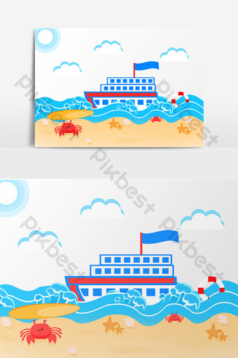 small fresh cartoon sea cruise ship png element PNG Images Template PSD