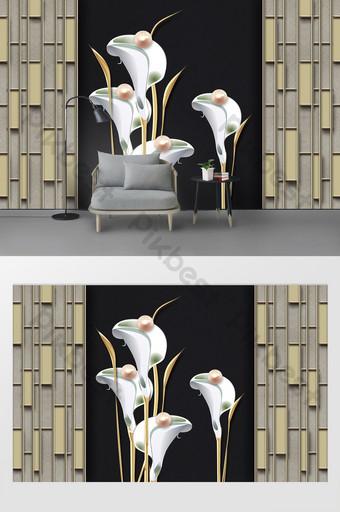 الحديث بسيط ثلاثي الأبعاد لؤلؤة الزنبق الديكور خلفية الجدار الحديد الديكور والنموذج قالب PSD