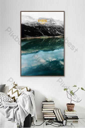 الشمال بحيرة الأزرق المناظر الطبيعية اللوحة الزخرفية خلفية الجدار الديكور والنموذج قالب TIF