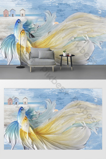 modern sea goldfish relief oil painting background wall Decors & 3D Models Template PSD