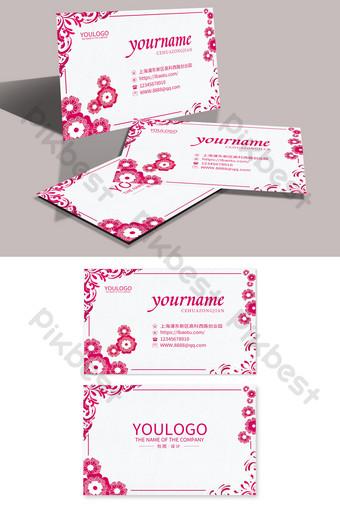 Carte de visite simple d'étiquette de mariage de beauté de fleur rouge rose Modèle PSD