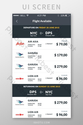Airline flight search results APP mobile interface UI Template PSD