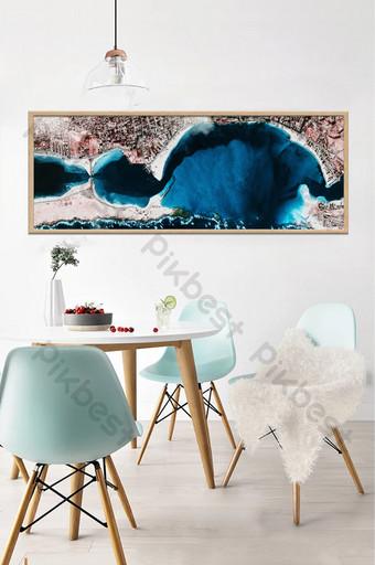 الشمال الأزرق بحيرة سطح الفن التجريدي اللوحة الزخرفية خلفية الجدار الديكور والنموذج قالب TIF