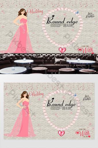 vestido de novia dibujado a mano retro tienda de ropa de belleza pared de fondo Decoración y modelo Modelo PSD