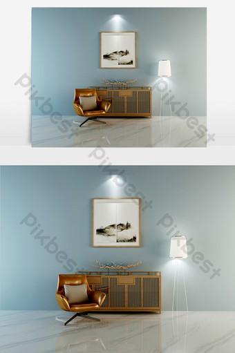 أريكة واحدة جلدية ذهبية داكنة خزانة خشبية صلبة مصباح أرضي أبيض الديكور والنموذج قالب MAX