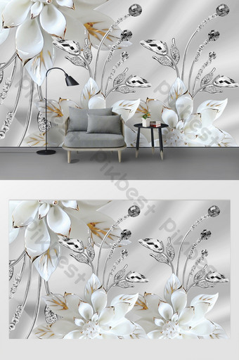 modern sederhana tiga dimensi kustomisasi dinding latar belakang bunga bantuan Dekorasi dan model Templat PSD