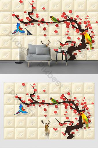 الحديث جميل زهر البرقوق الطيور الغزلان التلفزيون خلفية الجدار الديكور والنموذج قالب PSD