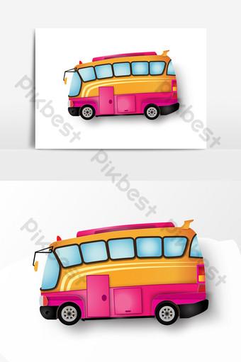 elemento de bus de vector dibujado mano rosa roja Elementos graficos Modelo AI