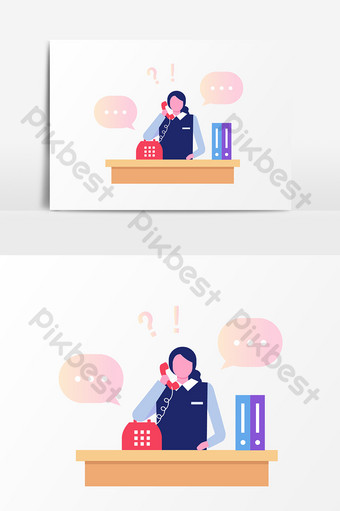drawing cartoon customer service answering phone elements PNG Images Template AI