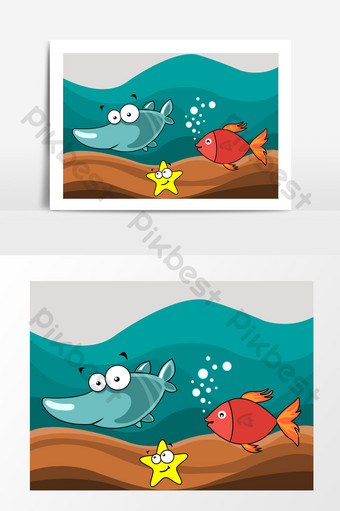 mundo submarino pez estrella de mar vector de tiburón Elementos graficos Modelo AI