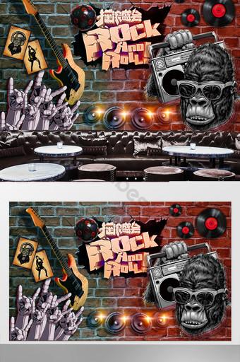 estilo europeo y americano tridimensional pared rota hip hop rock bar discoteca decoración fondo Decoración y modelo Modelo PSD