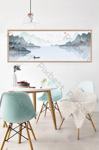 جديد النمط الصيني المناظر الطبيعية بحيرة مجردة اللوحة الزخرفية خلفية الجدار الديكور والنموذج قالب TIF