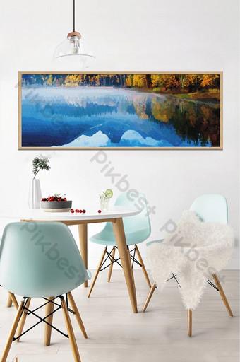 الشمال النفط اللوحة المشهد سطح البحيرة الزرقاء خلفية الجدار الزخرفية الديكور والنموذج قالب TIF