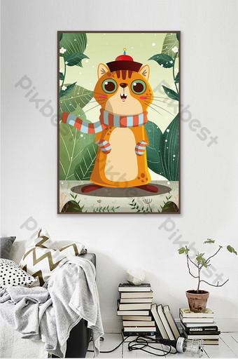 lucu kartun nordic angin kreatif hewan kucing lukisan dekorasi kamar anak-anak Dekorasi dan model Templat PSD
