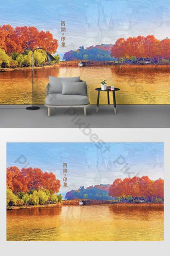المدينة الحديثة المشهد هانغتشو البحيرة الغربية الانطباع النفط اللوحة التلفزيون خلفية الجدار الديكور والنموذج قالب PSD