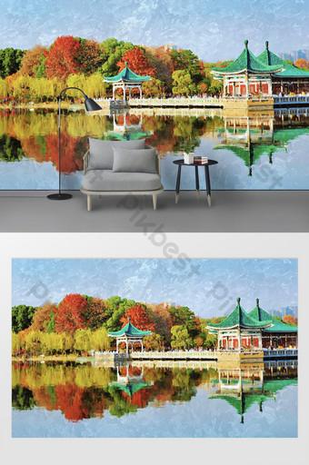 جديد الحديثة النفط اللوحة المشهد مدينة ووهان شرق بحيرة التلفزيون خلفية الجدار التخصيص الديكور والنموذج قالب PSD
