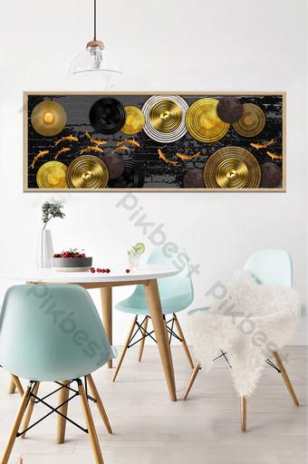 disco tridimensional abstracto pez dorado pintura decorativa dorada Decoración y modelo Modelo PSD