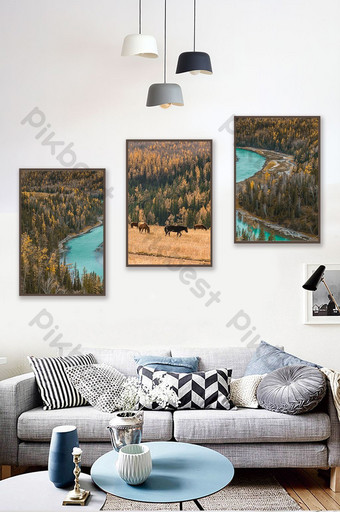 Nordic green seaside waves sea water decorative painting background wall Decors & 3D Models Template TIF