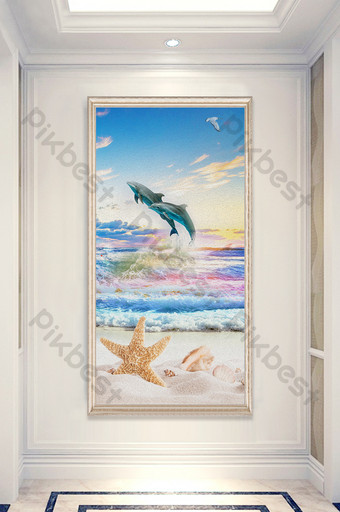 modern oil painting sea and sky relief dolphin shell porch decorative Decors & 3D Models Template PSD