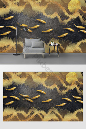 modern golden abstract sea 3d swimming fish relief background wall Decors & 3D Models Template PSD