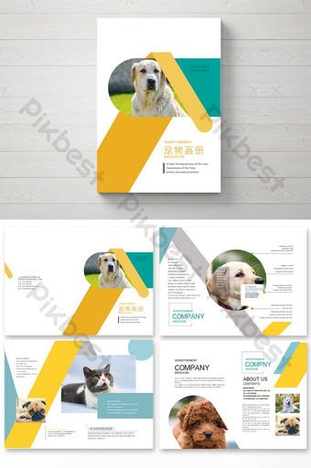 مجموعة جميلة من تصميم وتخطيط كتيب الحيوانات الأليفة قالب AI