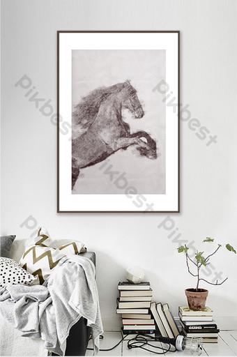 الحد الأدنى الحديثة زودياك الحصان لون الرصاص رسم غرفة المعيشة الديكور اللوحة الديكور والنموذج قالب PSD