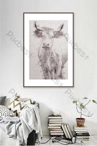 現代簡約十二生肖牛彩鉛素描客廳臥室裝飾畫 裝飾·模型 模板 PSD