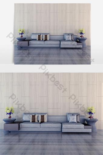 أريكة رمادية فضية طاولة صغيرة مستديرة ديكور زهور غرفة المعيشة الديكور والنموذج قالب MAX