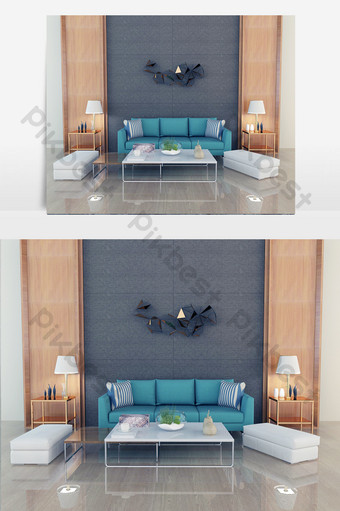 blue three-seat sofa, white coffeeee table, cotton sitting table Decors & 3D Models Template MAX