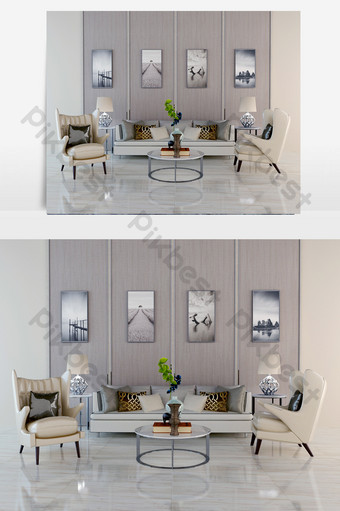 white three-seat sofa coffeeee table off-white single Decors & 3D Models Template MAX