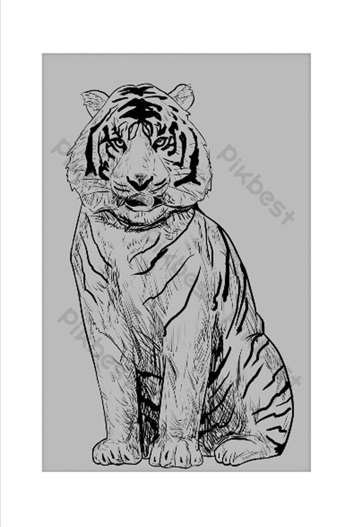 Modern Minimalis Zodiak Harimau Warna Memimpin Sketsa Ruang Tamu