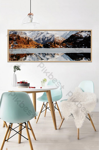 الشمال المناظر الطبيعية الثلوج بحيرة انعكاس اللوحة الزخرفية خلفية الجدار الديكور والنموذج قالب TIF
