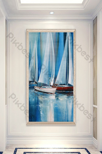 Nordic oil painting sailboat sea water porch background decorative Decors & 3D Models Template TIF
