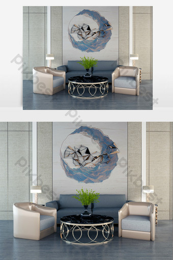 dark blue linen multi-seat sofa with silver edge black surface coffeeee table Decors & 3D Models Template MAX