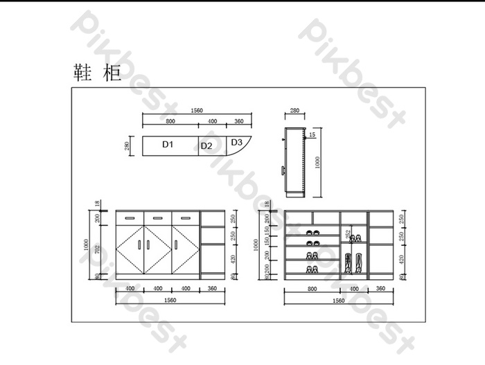 Shoe cabinet CAD drawings commonly used furniture drawings