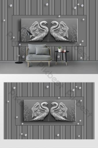 الحد الأدنى الحديثة رمادي منقوش لؤلؤة البجعة جدار خلفية غرفة المعيشة العصرية الديكور والنموذج قالب PSD