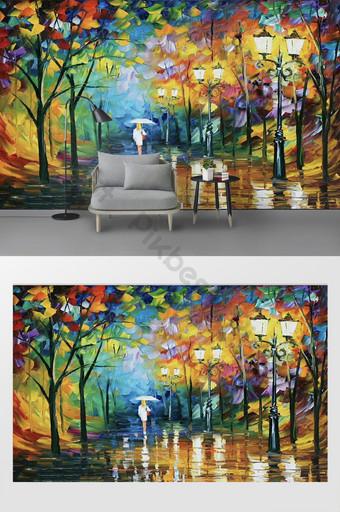 pintura al óleo creativa moderna bosque niña tv fondo pared Decoración y modelo Modelo PSD