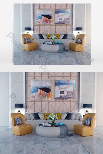 أريكة متعددة المقاعد رمادية وجلد برتقالي غامق مفرد الديكور والنموذج قالب MAX